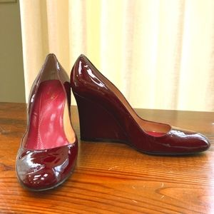 Kate Spade Red Patent Leather Wedge Heels